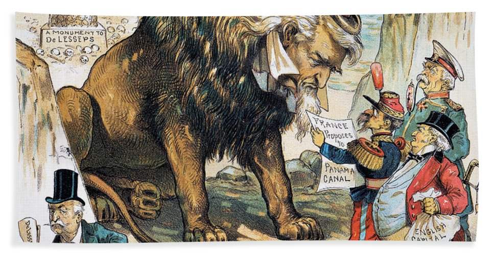 1889 Hand Towel featuring the photograph Monroe Doctrine: Cartoon by Granger