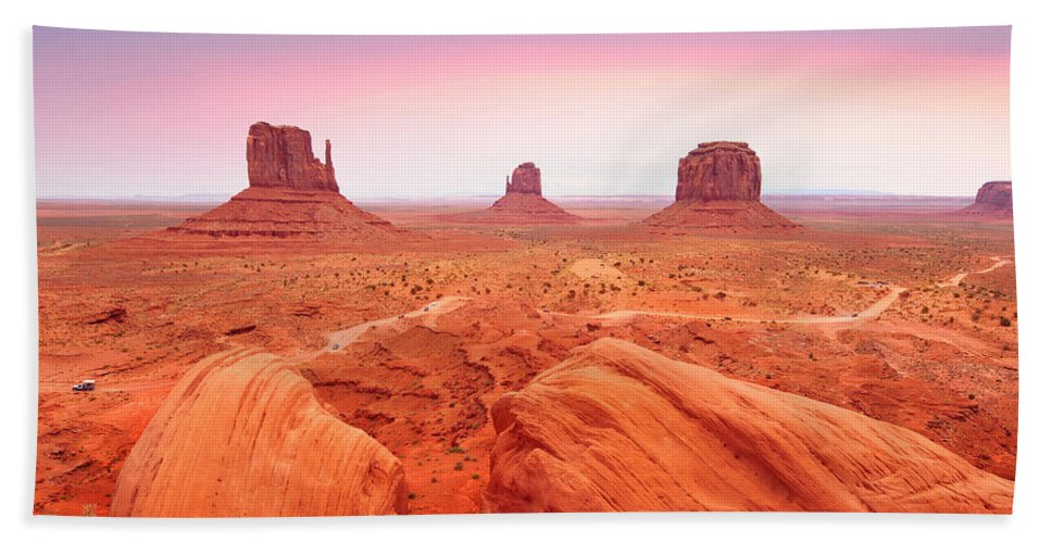 Monument Valley Bath Sheet featuring the photograph Monument Valley by Edwin Verin