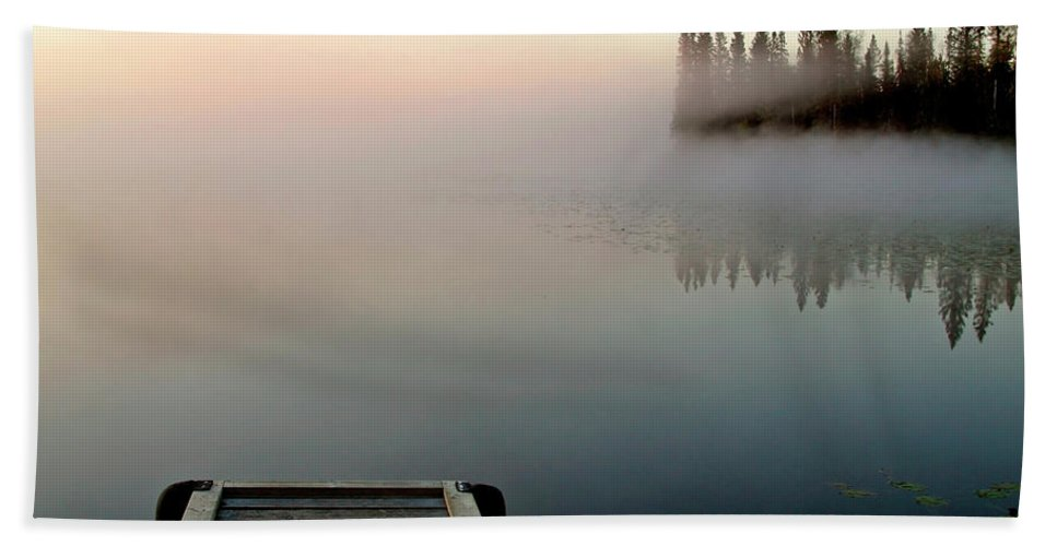 Mist Hand Towel featuring the digital art Morning Mist Over Lynx Lake In Northern Saskatchewan by Mark Duffy