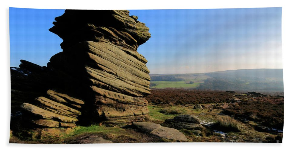 Mother Cap Hand Towel featuring the photograph Mother Cap Gritstone Rock Formation, Millstone Edge by Dave Porter