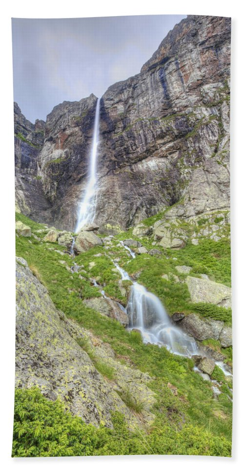 Waterfall Hand Towel featuring the photograph Mountain Waterfall by Mihail Sidov