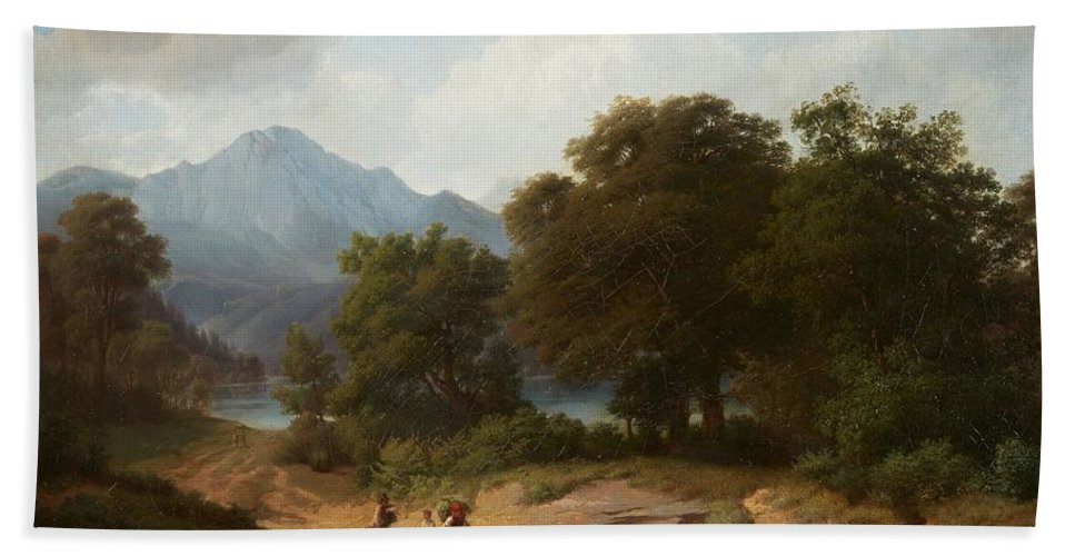 Wilhelm Bode Bath Sheet featuring the painting Mountainous Landscape With Shepherds by Wilhelm Bode