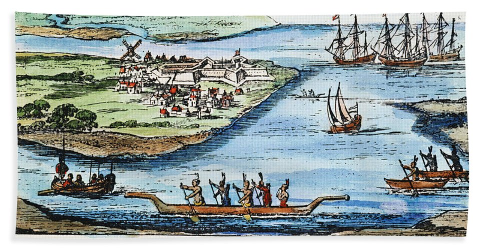 1651 Hand Towel featuring the photograph New Amsterdam by Granger