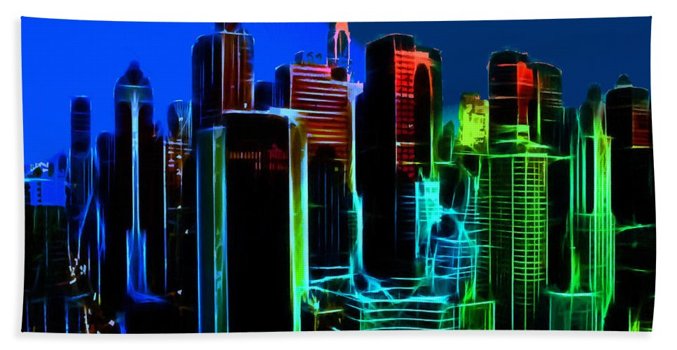 New York City Nyc Ny Big Apple Skyscrapers Night Ligh Lights Moon Moonlight Oil Painting Expressionism Blue Color Colorful Modern Art Cityscape Nightscape Bath Sheet featuring the painting New York Colors by Steve K