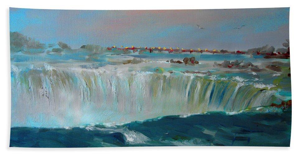 Landscape Bath Sheet featuring the painting Niagara Falls by Ylli Haruni