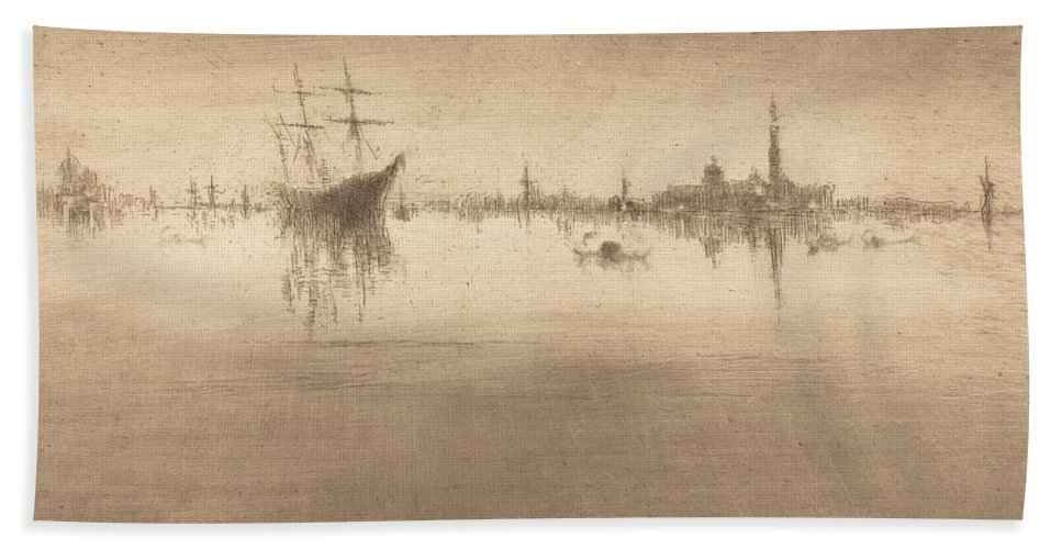 Hand Towel featuring the drawing Nocturne by James Mcneill Whistler