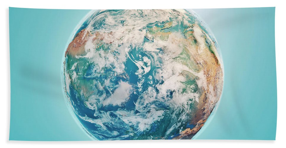 North Pole Bath Sheet featuring the digital art North Pole 3d Render Planet Earth Clouds by Frank Ramspott