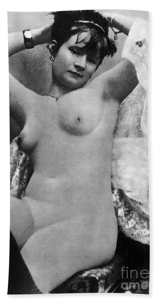 1888 Hand Towel featuring the photograph Nude Posing, C1888 by Granger