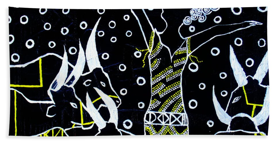 Jesus Hand Towel featuring the painting Nuer Lady - South Sudan by Gloria Ssali
