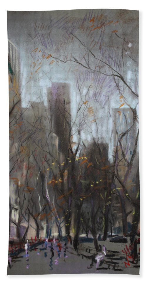 Ny City Bath Sheet featuring the pastel Nyc Central Park by Ylli Haruni