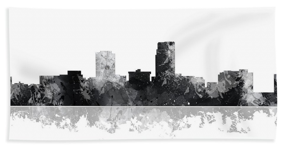 Omaha Nebraska Skyline Bath Sheet featuring the digital art Omaha Nebraska Skyline by Marlene Watson