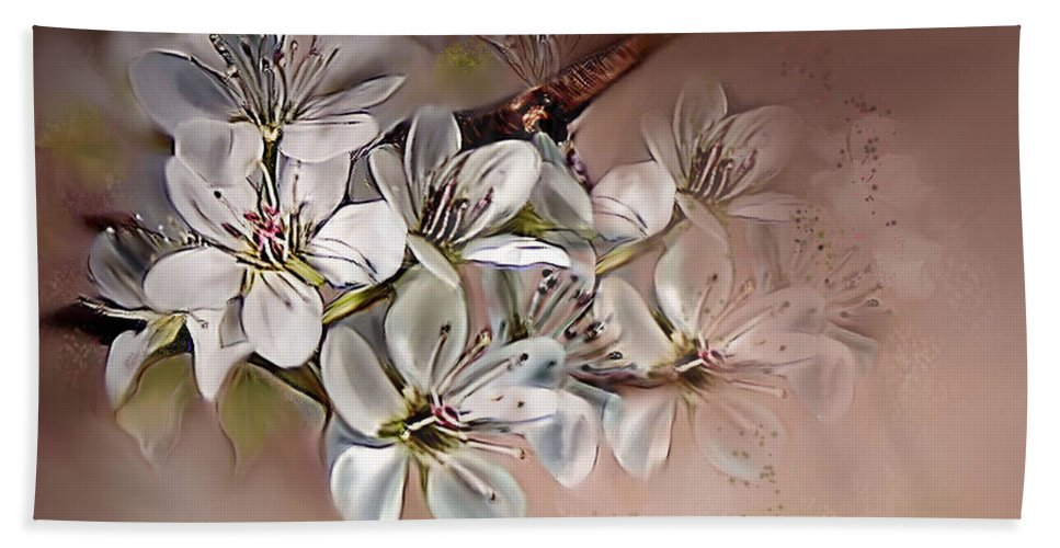 Pear Bath Sheet featuring the painting Oriental Pear Blossom by Bonnie Willis