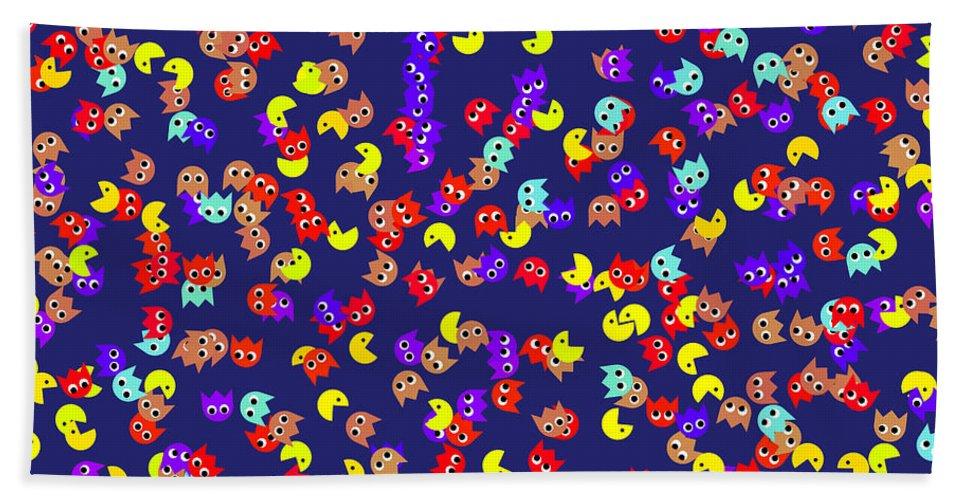 Pacman Hand Towel featuring the digital art Pacman Seamless Generated Pattern by Miroslav Nemecek