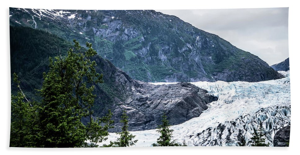 Panoramic Hand Towel featuring the photograph Panoramic View Of Mendenhall Glacier Juneau Alaska by Alex Grichenko