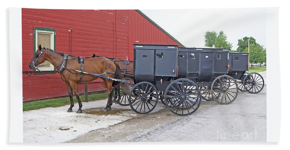 Amish Bath Towel featuring the photograph Amish Parking Lot by Ann Horn