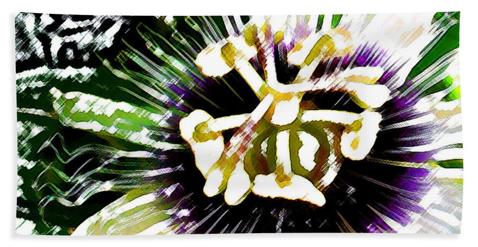 Passion Fruit Flower Bath Sheet featuring the digital art Passion Flower by James Temple