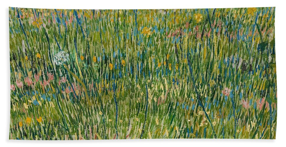 Dutch Hand Towel featuring the painting Patch Of Grass by Vincent van Gogh