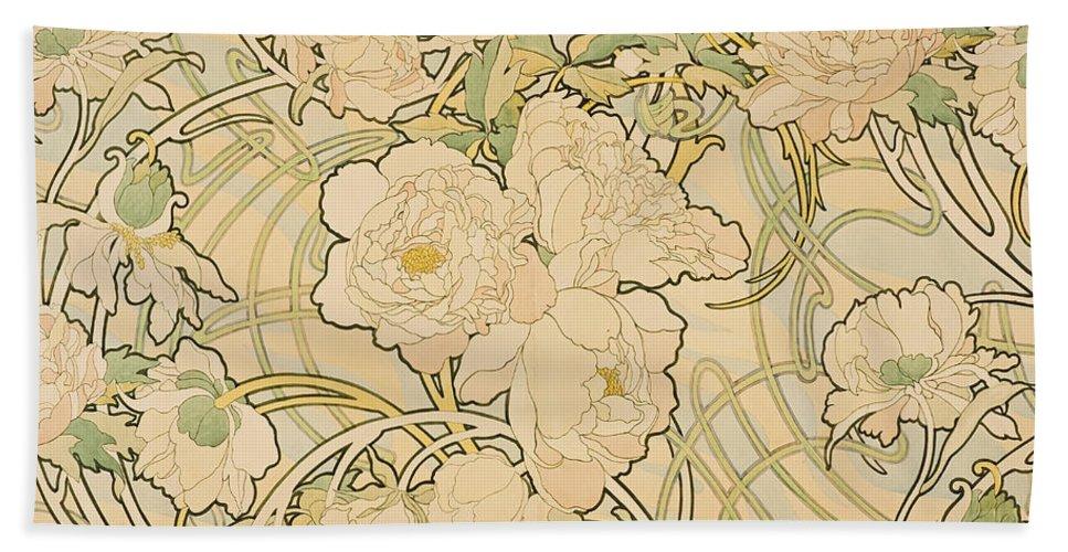 Alphonse Mucha Hand Towel featuring the painting Peonies by Alphonse Mucha