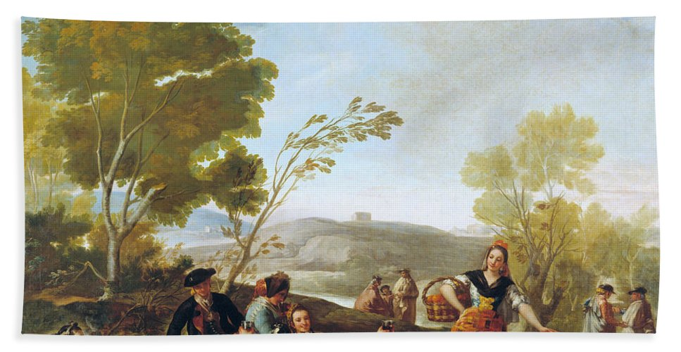 Animal Hand Towel featuring the painting Picnic On The Banks Of The Manzanares by Francisco Goya
