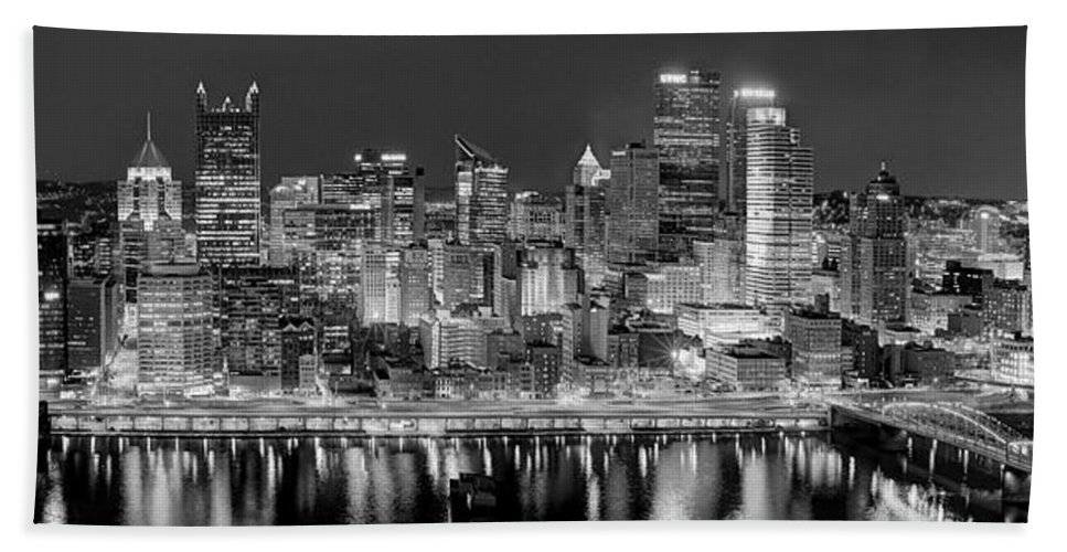 Pittsburgh Skyline At Night Hand Towel featuring the photograph Pittsburgh Pennsylvania Skyline At Night Panorama by Jon Holiday
