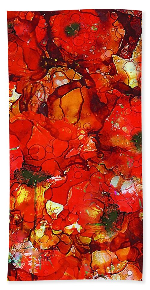 Abstract Hand Towel featuring the painting Poppies by Klara Acel