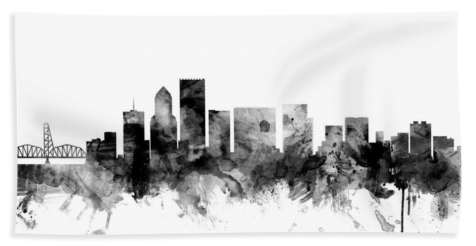 United States Hand Towel featuring the digital art Portland Oregon Skyline by Michael Tompsett