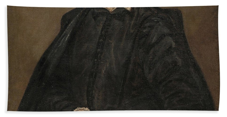 El Greco Hand Towel featuring the painting Portrait Of A Man by El Greco