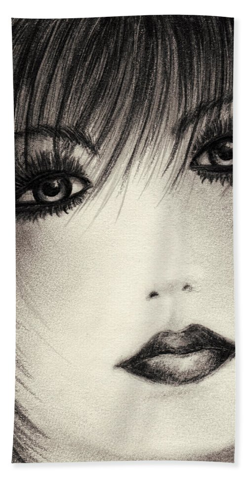 Portrait Hand Towel featuring the drawing Portrait Study by Rachel Christine Nowicki