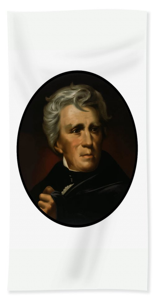 Andrew Jackson Hand Towel featuring the painting President Andrew Jackson - Four by War Is Hell Store