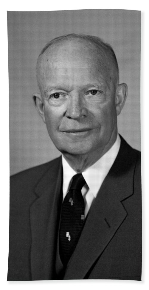President Eisenhower Hand Towel featuring the photograph President Dwight Eisenhower - Two by War Is Hell Store