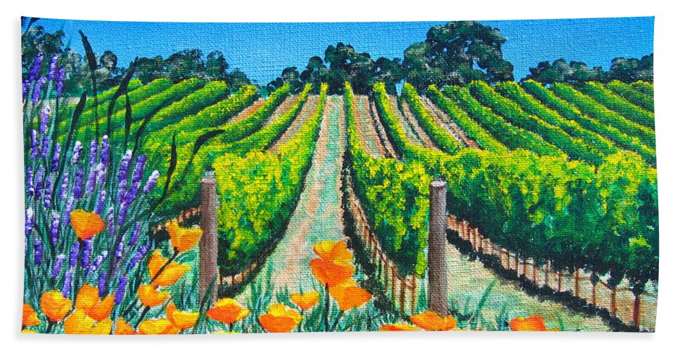 Vineyard Hand Towel featuring the painting Presidio Vineyard by Angie Hamlin