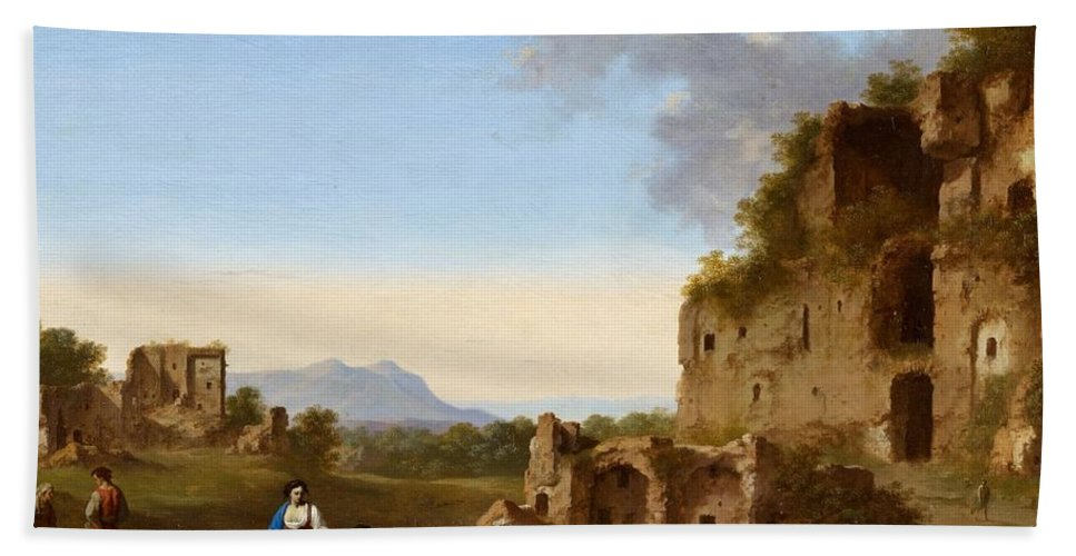Cornelis Van Poelenburgh Bath Sheet featuring the painting Roman Landscape With Ruins And Travellers by MotionAge Designs