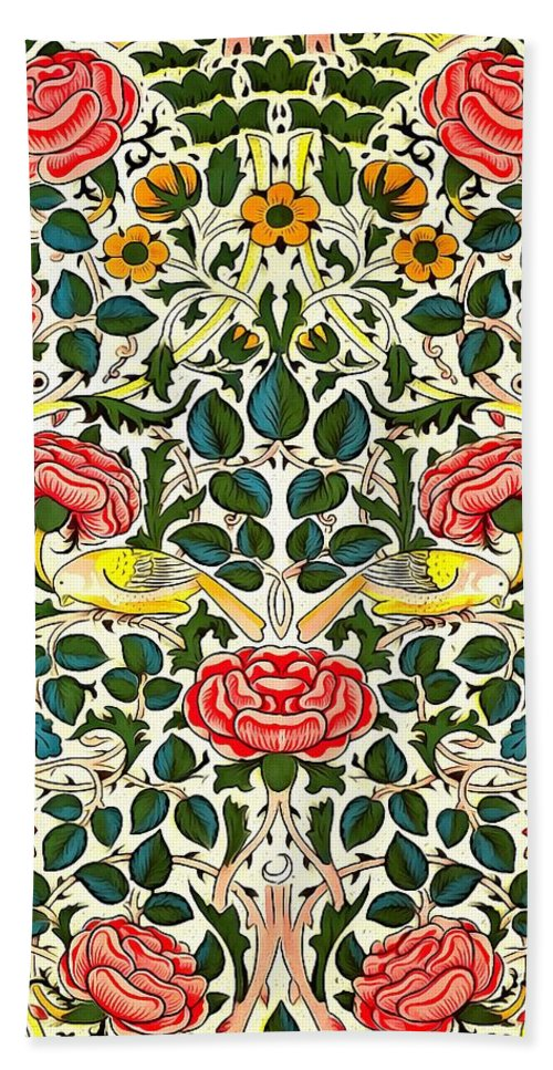Artistic Bath Sheet featuring the painting Rose Design by William Morris