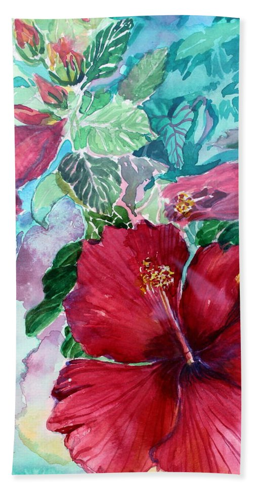 Rose Of Sharon Bath Towel featuring the painting Rose Of Sharon by Mindy Newman
