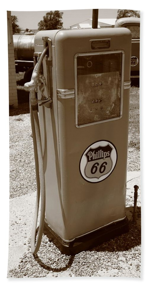 66 Bath Sheet featuring the photograph Route 66 Gas Pump by Frank Romeo