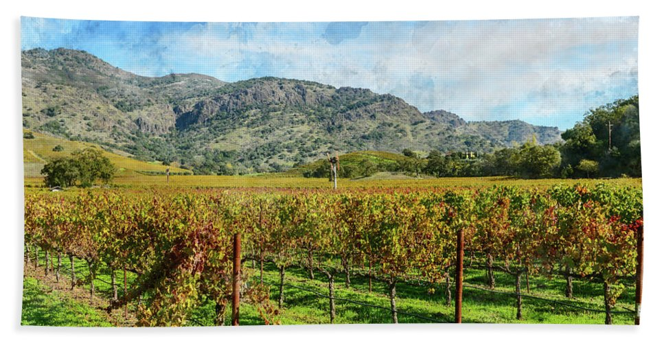 Green Hand Towel featuring the photograph Rows Of Grapevines In Napa Valley Caliofnia by Brandon Bourdages