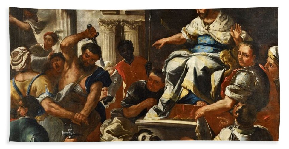 Luca Giordano Bath Sheet featuring the painting Saint John by MotionAge Designs
