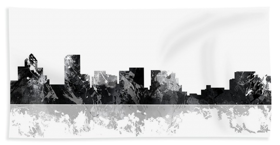 Salem Oregon Skyline Bath Sheet featuring the digital art Salem Oregon Skyline by Marlene Watson