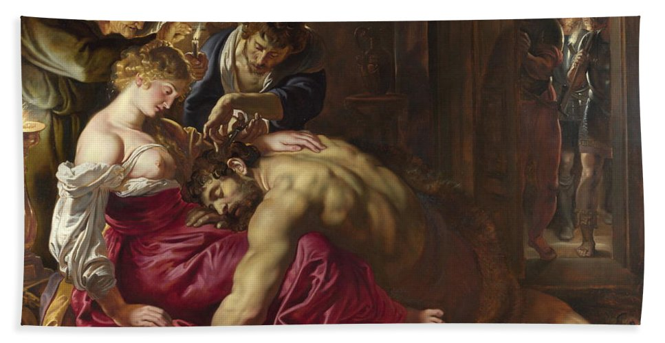 Peter Paul Rubens Hand Towel featuring the painting Samson And Delilah by Peter Paul Rubens