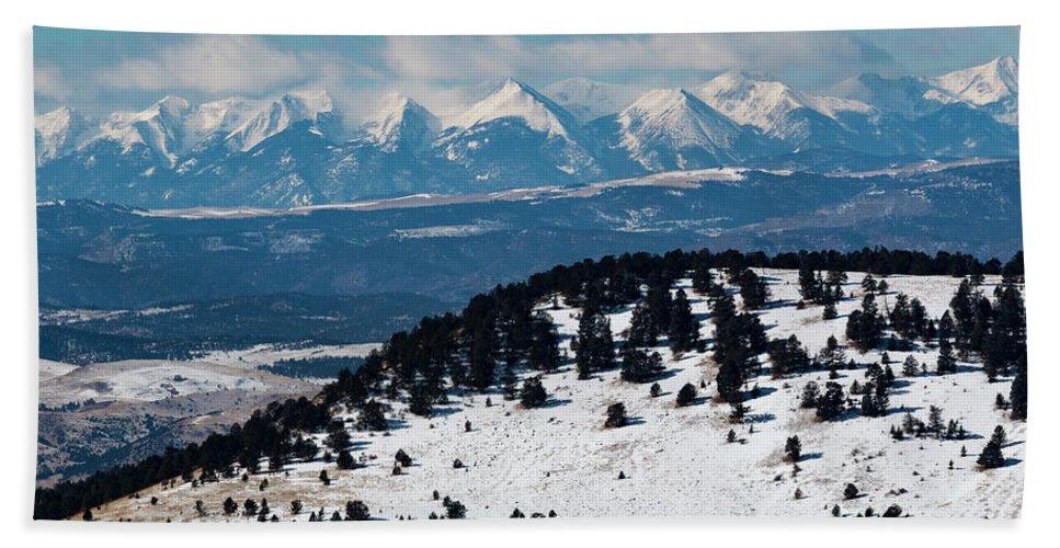 Sangre De Cristo Hand Towel featuring the photograph Sangre De Cristo Mountains In Winter by Steve Krull