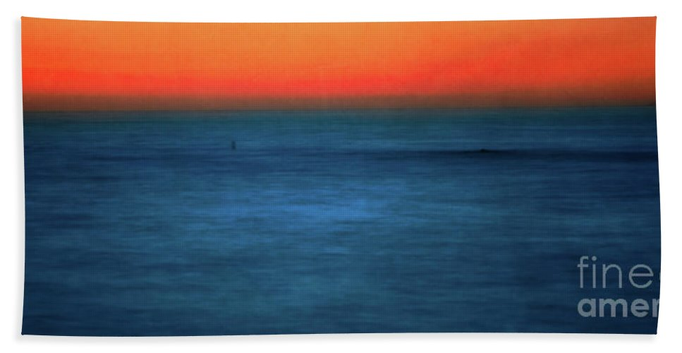 Santa Monica Bath Sheet featuring the photograph Santa Monica Sunset 1 by Doug Sturgess