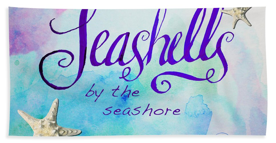 Print Bath Sheet featuring the painting Seashells By Jan Marvin by Jan Marvin