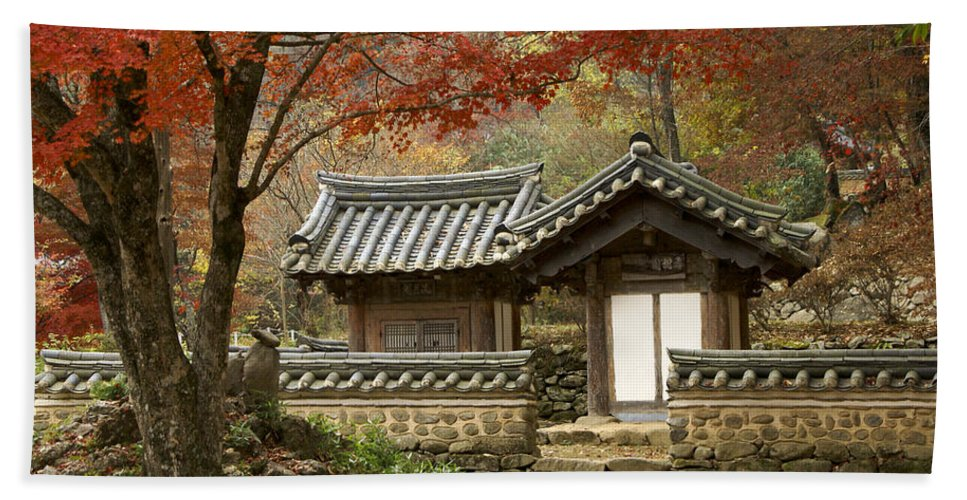 Korea Hand Towel featuring the photograph Seonamsa In Autumn by Michele Burgess