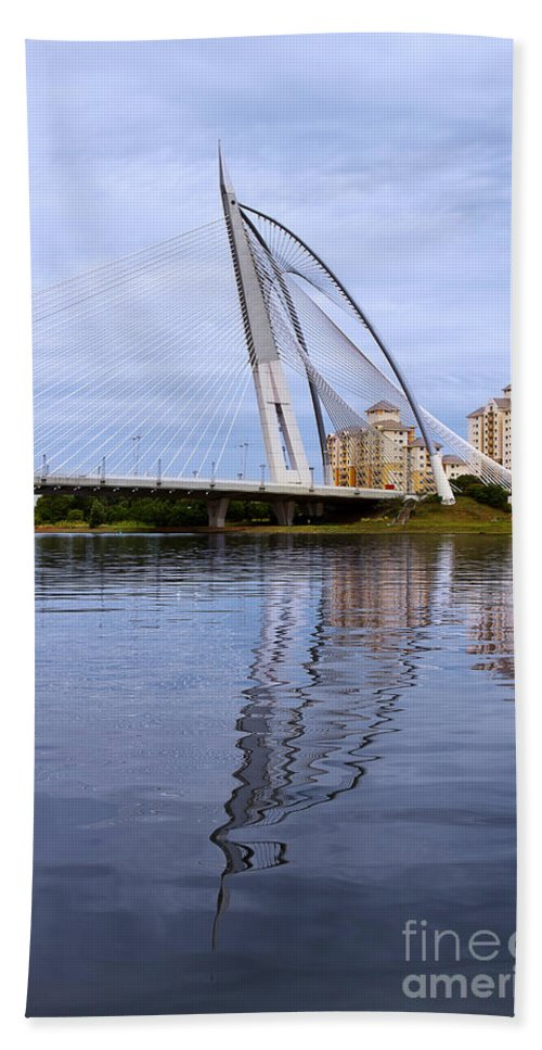 Travel Hand Towel featuring the photograph Seri Wawasan Bridge by Louise Heusinkveld