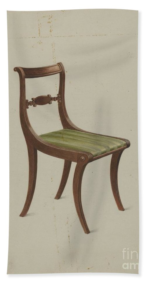 Hand Towel featuring the drawing Side Chair by Ferdinand Cartier