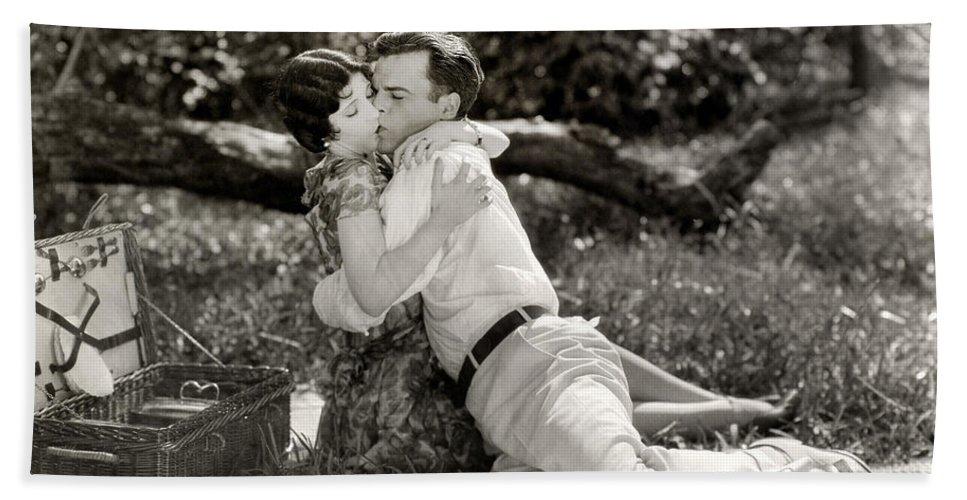 -picnic- Bath Sheet featuring the photograph Silent Film Still: Picnic by Granger