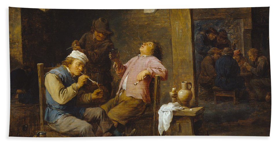 Baroque Hand Towel featuring the painting Smokers And Drinkers by David Teniers the Younger