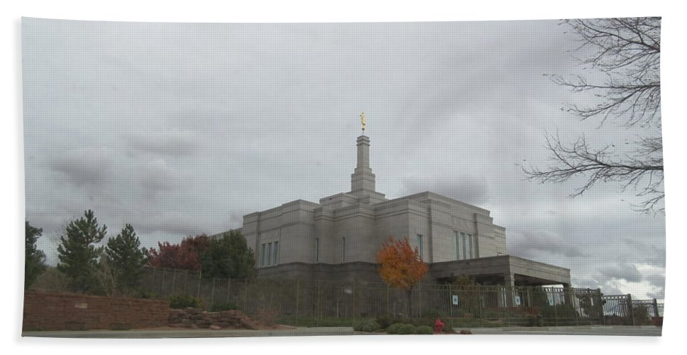 Snowflake Bath Sheet featuring the photograph Snowflake Mormon Temple by Frederick Holiday