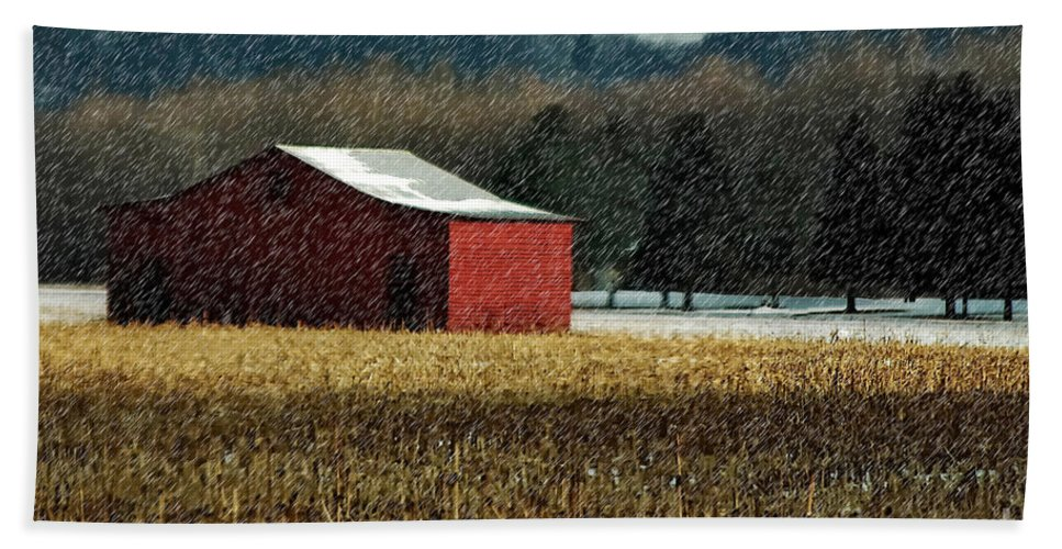 Barn Bath Sheet featuring the photograph Snowy Red Barn In Winter by Lois Bryan