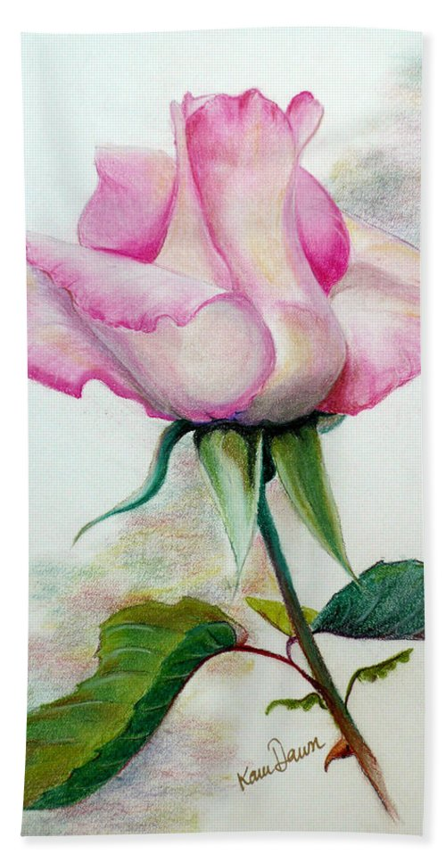 Rose Pastel Paintings Bath Sheet featuring the pastel So Pink by Karin Dawn Kelshall- Best